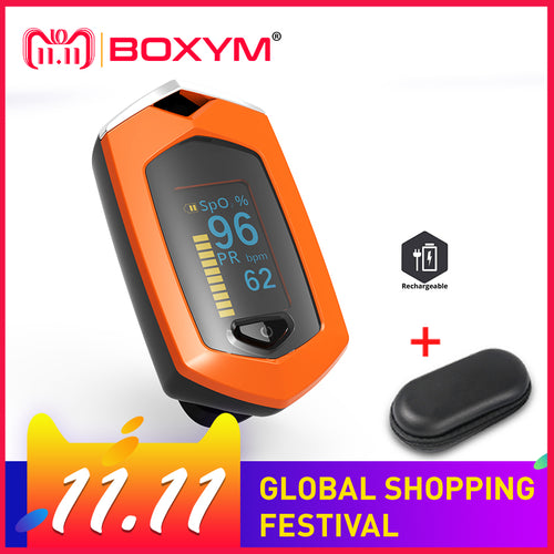 BOXYM Medical Rechargeable Finger Pulse Oximeter OLED blood oxygen Heart Rate Monitor  Oximetro De Dedo SpO2 Pulsioximetro