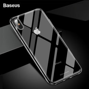 Baseus Luxury Glass Case For iPhone Xs Max XR Coque Protective Tempered Glass Back Cover For iPhone Xsmax XR Capinhas Fundas
