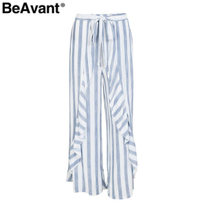 BeAvant Summer ruffle stripe wide leg pants Women elastic bottom flare pants capris High waist bow casual pants 2018