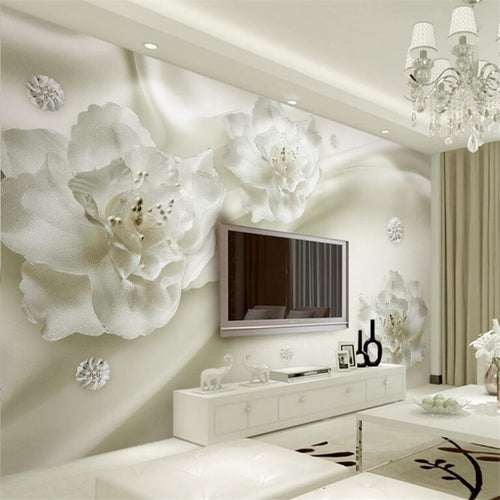 Beibehang Beautiful light gray silk flowers European style 3d TV backdrop living room bedroom murals wallpaper for walls 3 d