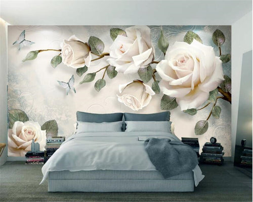 Beibehang Custom wallpaper mural modern hand painted flowers European style TV backgrounds wall living room bedroom 3d wallpaper