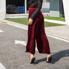 Bella Philosophy 2018 Spring Velvet Wide Leg Pleated Solid Pants Women Casual High Waist waistband fashion Vintage long Pants