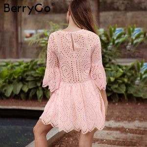 BerryGo Lace embroidery cotton mini dress women Ruffle sleeve causal white dress Hollow out spring short dress vestidos