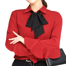 Black Bow Decor Lady Chiffon Shirts Plus Size S-4XL Red / Pink / White Women Casual Design Blouses 2018 New Clothing