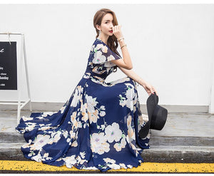 Bohemian Style Summer New Arrival Collect Waist Flare Sleeve Flower Printed Woman Chiffon Long Dress