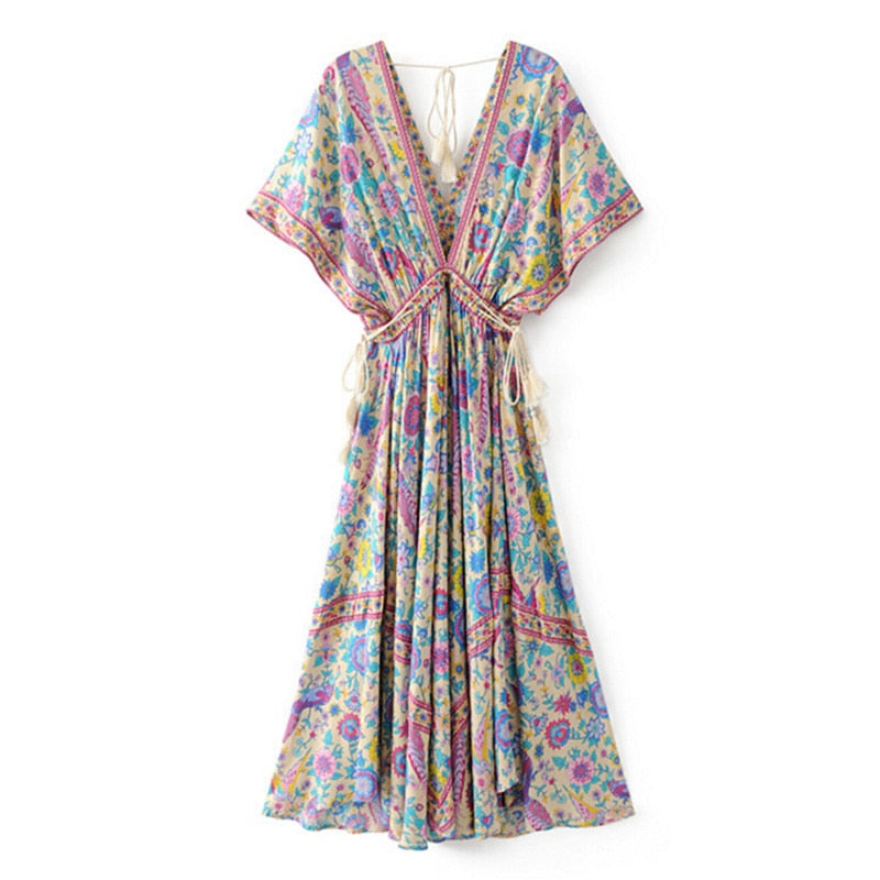 Boho Chic Summer Vintage Bird Floral Print Long Dress Women 2019 Fashion V Neck Lace Up Tassel Beach Dresses Vestidos Mujer