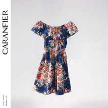 CARANFIER Fashion Dress Women Print Plus Size Folk-Custom ONeck Strapless Women Clothing Plus Size Club Party Floral Print Dress