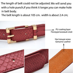 CETIRI genuine real cow leather + pu belt women gold snake belt for adults ladies top brand luxury thin crocodile belt red black