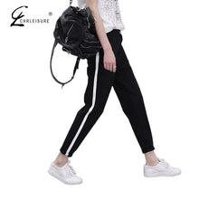 CHRLEISURE S-XXL Women Harem Pants  Lace Up Pants Casual Loose Elastic Female Pants Trousers for Women