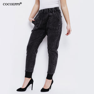 COCOEPPS Women Jeans 2018 Spring Hot Sale Jeans special fashion trousers legs pockets plus size Washed Casual pencil Pants 5XL