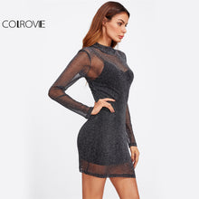 COLROVIE Glitter Mesh 2 In 1 Dress 2017 Black Overlay Women Sexy Party Club Summer Dresses Fashion High Neck Bodycon Mini Dress