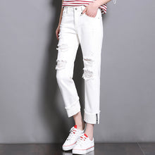 CTRLCITY White Jeans Woman 2018 New Preppy Casual Style Loose High Waist Ankle Length Wide Leg Jeans Pants Boyfriend