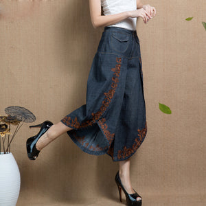 Calf-Length Women Denim Pants Loose Casual Spring Summer Embroidery Pantskirt All Match Female Jeans Plus Size Trousers MK0120