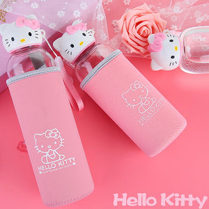 Cartoon Hello Kitty Glass Water Bottle with Cover Leak-Proof Sealt Sport Drinking Coffee Travel Water Bottle Christmas Gift D