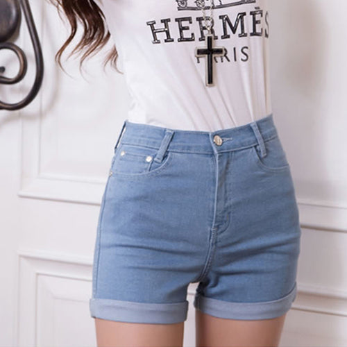 Casual 2016 New Korean Style Summer Vintage High Waisted Denim Women Shorts Plus Size Slim Stretch Turn Ups Female Jeans Shorts
