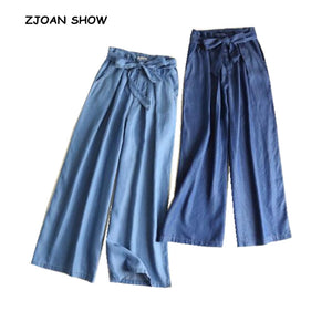Casual Hight waist Bow tied Sashes Tencel Denim Wide Leg Pants 2018 New Woman Blue Casual Jeans Femme Loose Jean Trousers