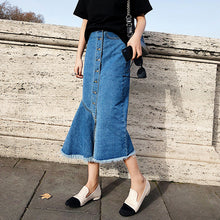 Casual Irregular Midi Jean Skirt Women Fringed Hem Hip Package Streetwear Skirts High Waist Buttons Denim Skirts bottoms 2018