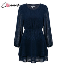 Conmoto Vintage Party Women Dress Casual Elegant Long Sleeve Polka Dot Dress Solid Short Summer Chiffon Dress Vestidos