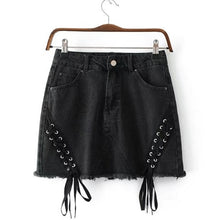 Cryptographic streetwear lace up denim skirts 2018 summer sexy high waist skirt short pockets skirts womens jeans bottom saias