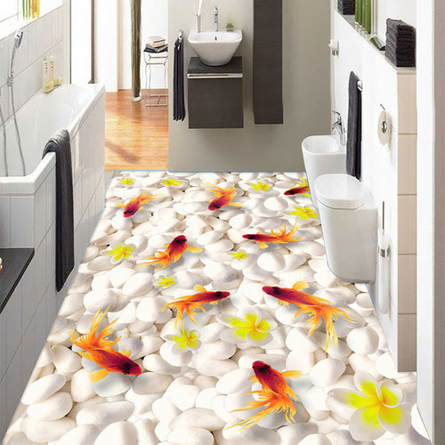 Custom 3D Floor Mural Wallpaper Swimming Goldfish PVC Self-adhesive Waterproof Living Room Bathroom 3D Flooring Papel De Parede