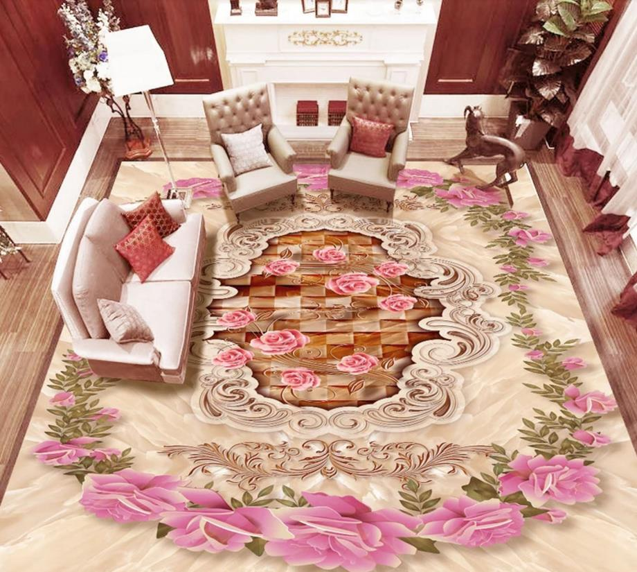 Custom 3D Flooring Murals Photo Floor Wallpapers For Living Room Bedroom rose pattern Romantic 3D