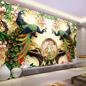Custom 3d Wall Mural Wallpaper 3d Non Woven Peacock Living Room Tv