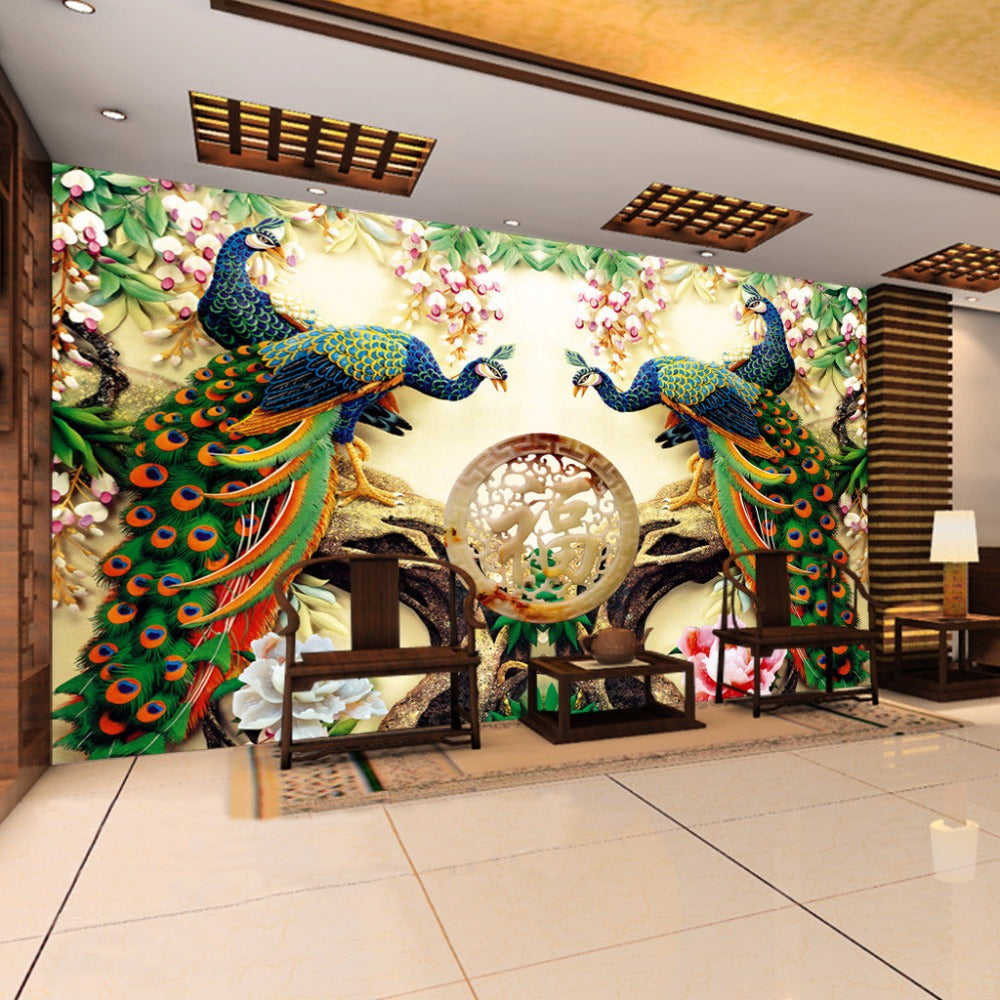 Custom 3d Wall Mural Wallpaper 3d Non Woven Peacock Living Room Tv Background Large Wall Painting Murales De Pared 3d Wallpaper