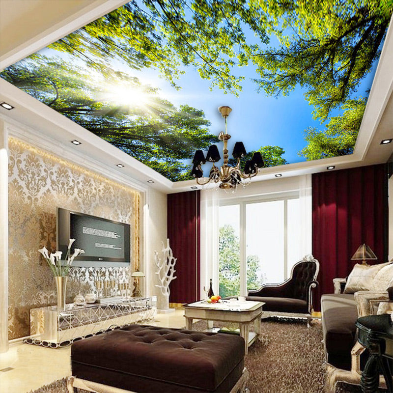 Custom 3d Wall Mural Wallpaper Landscape Sky Ceiling Mural