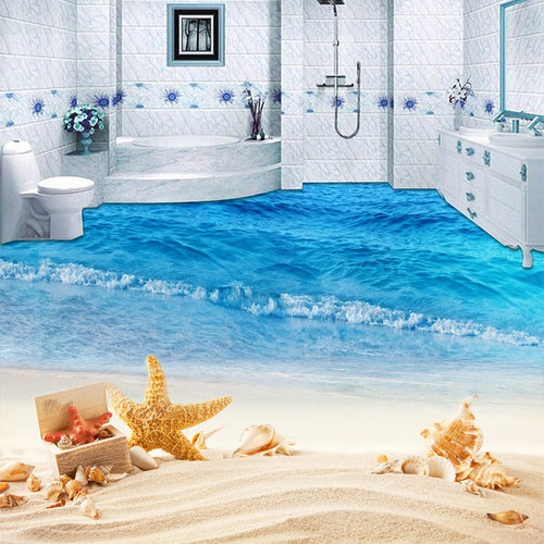 Custom Mural Wallpaper 3D Beach Sea Wave Photo Painting Sticker Bathroom Kids Bedroom PVC Waterproof Wear Non-Slip Floor Murals