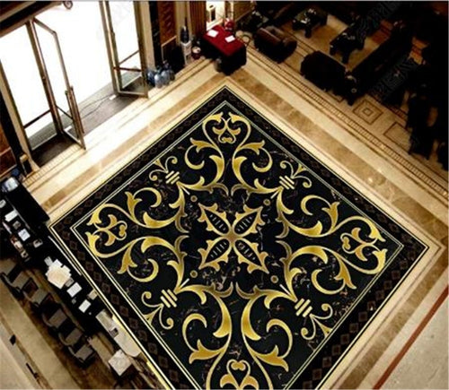Custom Photo 3d Wallpaper Black Diamond Marble Classical Pattern 3D Room Bedroom 3D Floor Interior Mural Wallpaper
