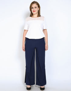 Cute Ann Women's Plus Size Summer Casual Pants Stretchy Waist Full Length Loose Wide Leg Pants Trousers With Split 6XL 7XL