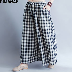 DIMANAF Women Wide Leg Pants Summer Big Size Plaid Black Elastic Waist Oversized Casual Loose Long Pants Female Large Trousers