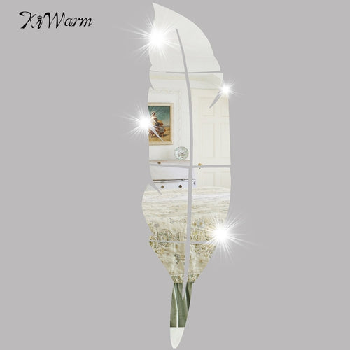 DIY Feather Removable Mirror Wall Stickers Decal Art Vinyl Decorative Mirrors Home Living Room Bedroom Bathroom Decor
