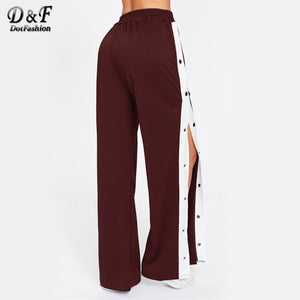 Dotfashion Button Side Wide Leg Pants Mid Waist Trousers Bottoms 2018 New Women Elastic Waist  Loose Casual Long Pants