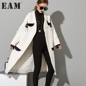 [EAM] 2018 New Temperament Woollen Overcoat Two-sided Embroidery Woolen Big Coat Women Fashion HA04202S