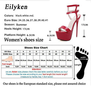 Eilyken Platform Summer Sandals Style Sexy 17cm Women Sandals high heels Open Toe Buckle Nightclub Shoes Black Big Size 40