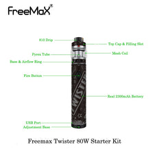 Vaporizers Freemax Twister 80W Starter Kit Built-In 2300mah Battery With Fireluke 2 Tank Mesh Vape 5ML Vape Vaporizer