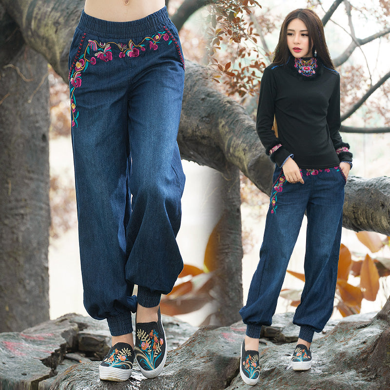 Ethnic jeans 2018 women autumn spring bohemian hippie original long embroidery denim wide leg pant trousers Chinese clothing