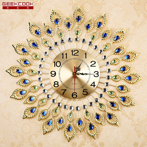 European Luxury Quartz Creative Large Wall Clock Art Golden Peacock Clocks Wall Modern Design Living Room Mute Wall Watch