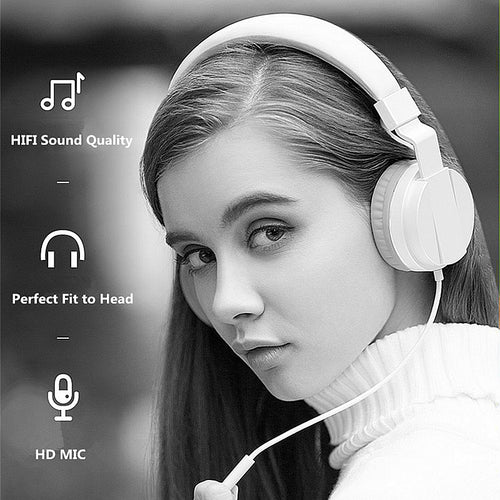 FITZ Wired Headphones with Microphone Adjustable Over Ear Gaming Headsets Earphones Low Bass Stereo for PC/Phone