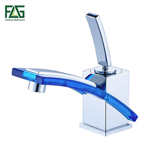 FLG Wholesale And Retail Free Shipping Long Spout Bathroom Basin Faucet Cold Hot Chrome Brass Glass Vanity Sink Mixer Tap 249-11