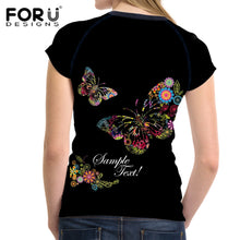FORUDESIGNS Trend Butterfly 3D Print Summer Women T Shirt Casual Short Sleeve T-Shirts for Ladies Female Fashion O-Neck Tops Tee