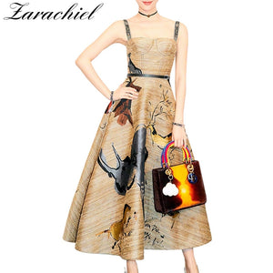 Fashion Designer New 2019 Summer Vintage Graffiti Printing Spaghetti Strap Big Swing Long Party Dress Vestido Women Runway Dress