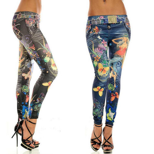 Fashion Elastic Ankle-length Slim Punk Style Faux Denim Pencil Pants Sexy Women Legging Butterfly Flower Printed Imitation Jeans