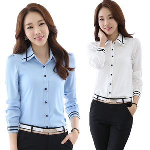 Fashion White Blue Plus Size Long Sleeve Turn-down Collar Formal Elegant Ladies Female Shirt Ladies tops school blouse