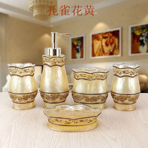 Fashion bathroom supplies resin bathroom set of five pieces wash set bathroom set bath tubs
