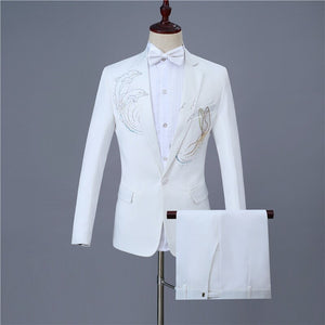 Fashion men's business suit one button lapels inlay dolphins slim casual white suit(coat+pant)party wedding banquet costumes