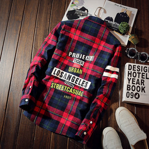 Fashion new personality letter printing plaid shirt, men's lapel long sleeve Korean Slim cotton shirt large size 4XL 5XL