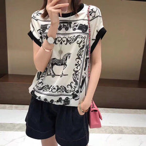 Fashion women Tops & Tees 2019 Runway Luxury famous Brand European Design party style T-Shirts Women's Clothing   D05194