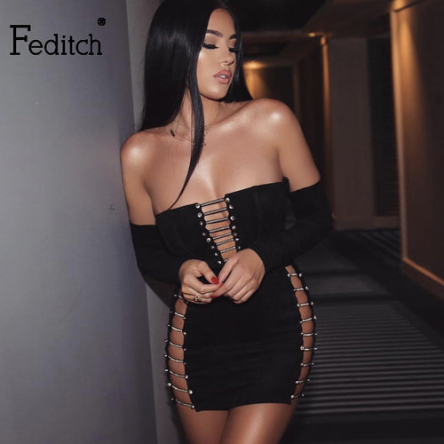Feditch New Long Sleeve Sexy Bandage Dress Women Sexy Strapless Hollow Out Bodycon Party Dresses Autumn Elegant Ladies Vestidos